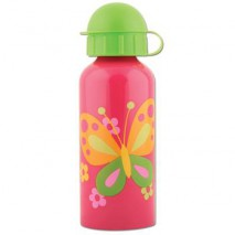 Gourde inox 400 ml - Rose papillons
