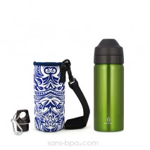 Pack gourde isotherme 500 ml Green & sa housse Tiki Ecococoon