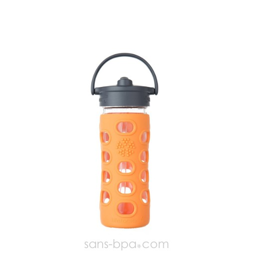 Gourde verre 350ml PAILLE - Orange
