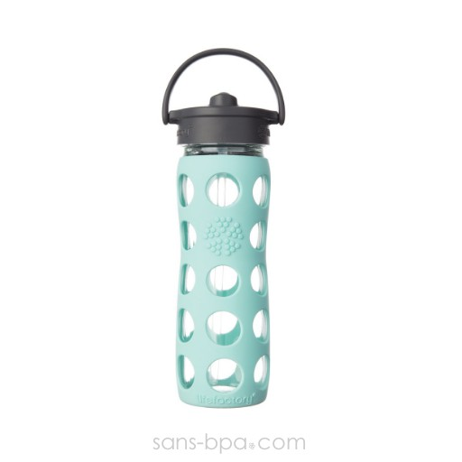 Gourde verre 475ml PAILLE - Turquoise