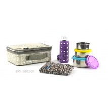 Pack Lunchbox Mesh + Boite Trio Gigogne Ciel + Pack glace chocolat + Gourde 260ml Prune LifeFactory