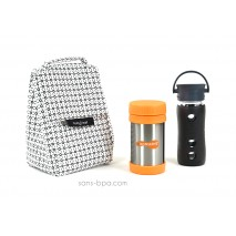 Pack Sac isotherme Lunchbag B&W+ Gourde verre Café 350 LFactory + Boite repas isotherme 470ml Mandarine