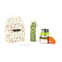 Pack Sac isotherme Lunchbag Bloom + Trio boites gigognes Nature + Gourde inox 600ml Parsley