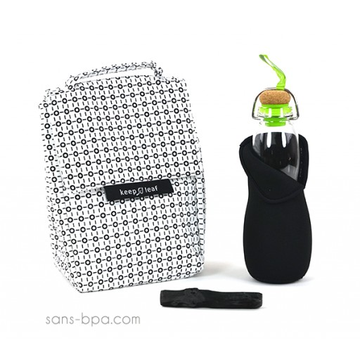 Pack Sac isotherme Lunchbag B&W + Gourde filtrante verre 650 Green B&B