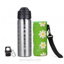 Pack gourde isotherme 600ml Messenger & sa housse Flower - Ecococoon