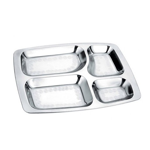 Plateau repas inox rectangle sans for Plateau en inox cuisine