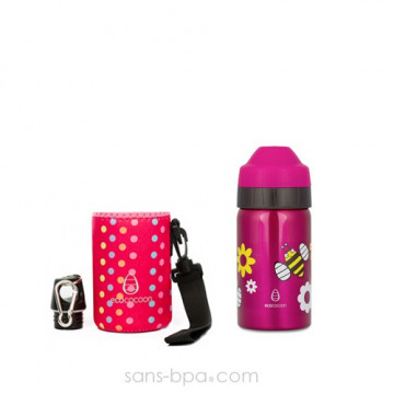 Gourde isotherme Spring 355 ml & sa housse Pink Ecococoon