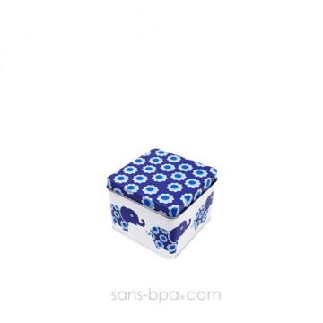 Boite métal cube ÉLÉPHANT BLEU