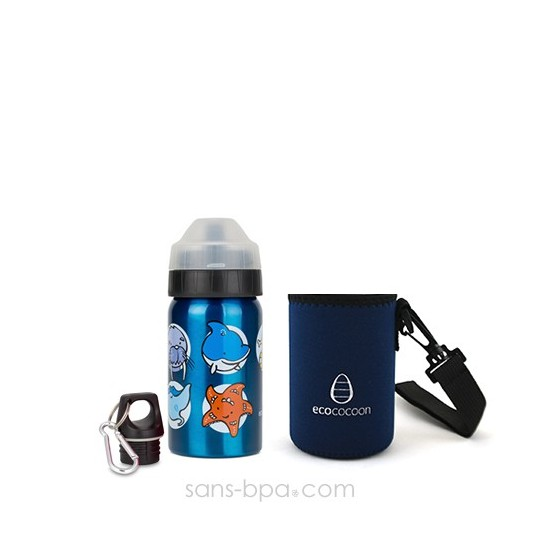 Pack gourde isotherme 350ml Ballerines & sa housse Prune Ecococoon