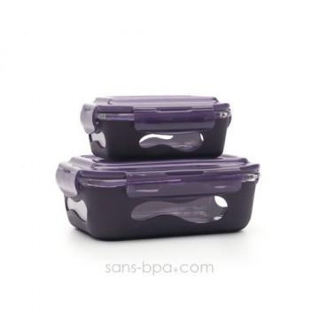 Pack 2 boites verre & silicone - Aubergine