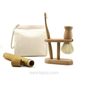 Pack CINCO Homme : Blaireau + brosse à dents VAGUE + Support bois + étui + sac coton BIO