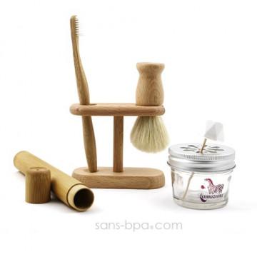 Pack Compet Homme : Blaireau + brosse à dents Médium Jolie Monde + Support bois + étui + pot verre + dentifrice solide