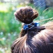 Élastique à cheveux Billes de bois - Rayures bleue