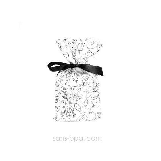 Pochette cadeau à colorier tissu Bio - Princesses