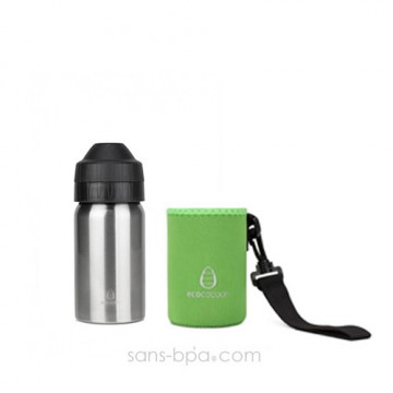 Pack gourde isotherme 350ml Silver & sa housse Green Ecococoon