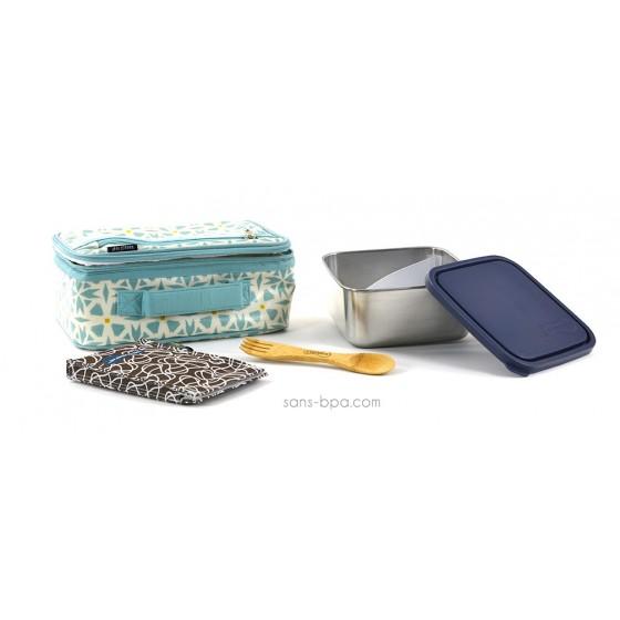 Pack Lunchbox Géo + Boite carrée XL Océan + Couverts 2 en 1 + Pack glace Chocolat