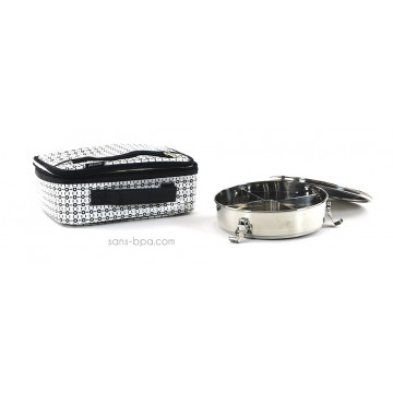 Pack Lunchbox B&W+ Boite inox compartiments Onyx
