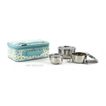 Pack Lunchbox Géo + Boites inox 12 + 10 + 8 - Onyx