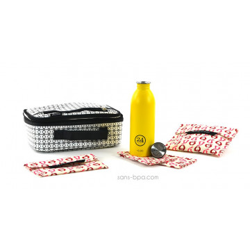 Pack Lunchbox B&W+ Gourde Jaune 24Bottle + Bundle Fruits