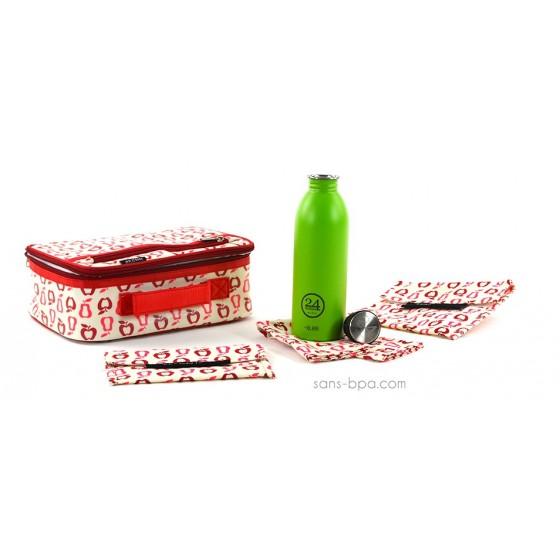 Pack Lunchbox Fruits + Gourde Green 24Bottle + Bundle Fruits