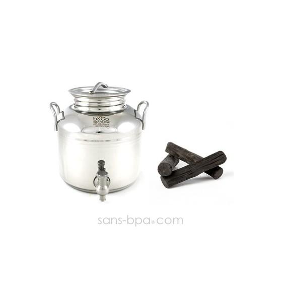 Pack Bonbonne inox 2 L + 2 filtres à charbon binchotan