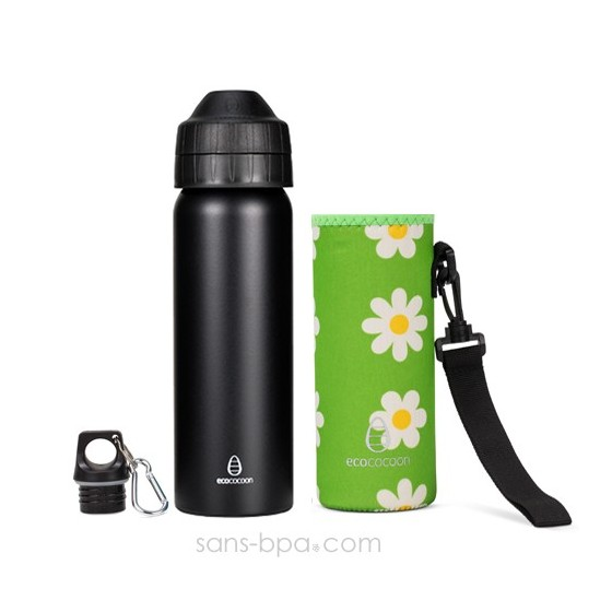 Pack gourde isotherme 600ml Messenger & sa housse Teal - Ecococoon