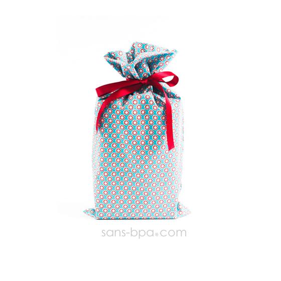 Pochette cadeau tissu Bio - Smart Bleu