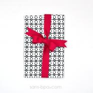 Pochette Mini Cadeau BLACK & WHITE - ruban Fushia