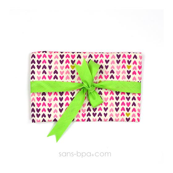 Pochette Mini Cadeau COEURS - ruban Vert