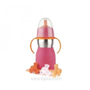 Gourde anti-fuite Safe Sippy 2 rose de Kid Basix