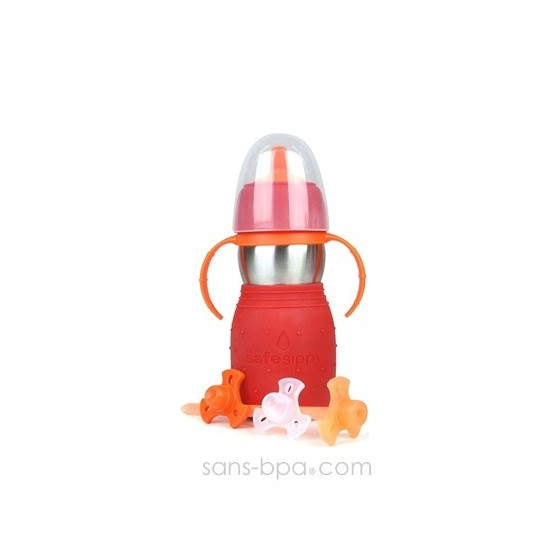 SAFE SIPPY 2 - Gourde anti-fuite - ROUGE - KID BASIX