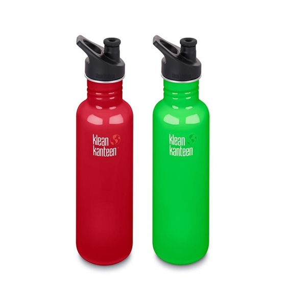 Pack promo - 2 gourdes 800ml & leurs bouchons sport GREEN COAT & MINERAL RED - Klean Kanteen
