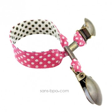 Attache serviette & doudou - ROSE A POIS