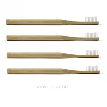 Lot 4 Brosses à dents bambou - Vague - Poils souples