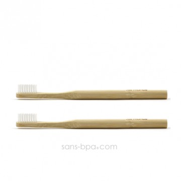 Lot 2 Brosses à dents bambou - Ronde - Poils souples