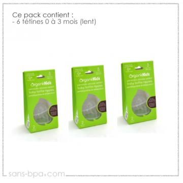 Pack 6 tétines goulot large 0 à 3 mois - Organic Kidz