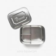 Boite 3 compartiments 100% inox LARGE TRIO