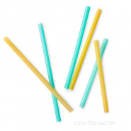 Lot 6 pailles silicones enfants - Jaune & vert