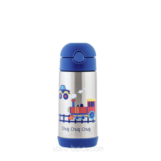 Gourde paille inox isotherme 350ml - Train