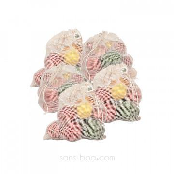 Lot 5 sacs à fruits filet LARGE - Joli Monde