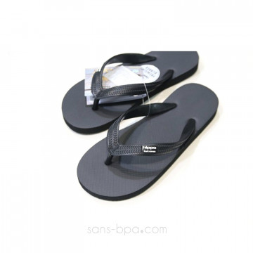 Tongs naturelles BAMAKO (noir) . HIPPOBLOO