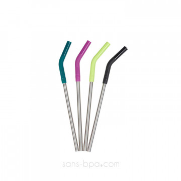 Lot 4 pailles inox embout silicone ~ Modèle SMOOTHIES