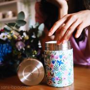Boite repas isotherme 100% inox FLORA BLEU - 650 ml