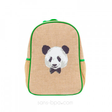 Cartable maternelle lin enduit Panda