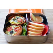 Boite à compartiment tout inox - DUO ORANGE - LUNCHBOTS