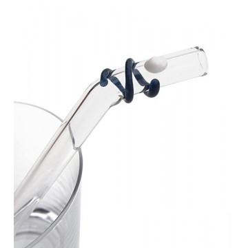 Paille verre Smoothie Courbe Courte BLANC-BLEU - SSM07BCLY