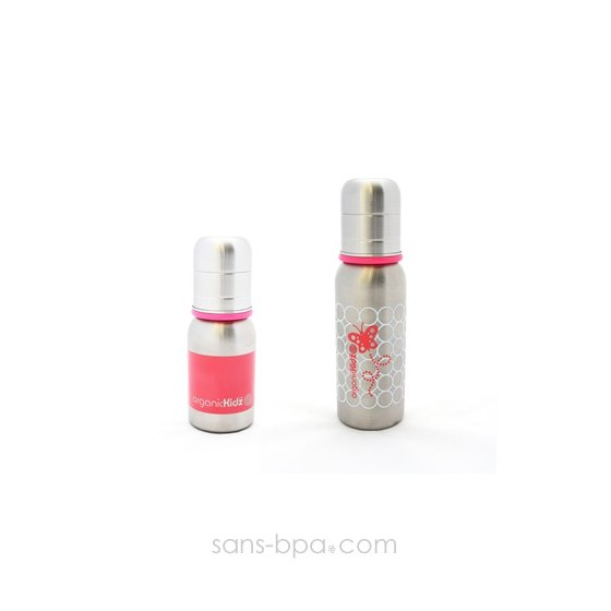 Lot 2 biberons inox Goulot Etroit 120 + 200 ml - Pink