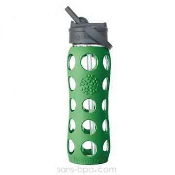 Gourde verre 650ml PAILLE - Green