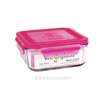 Contenant verre Meal Cube 850ml - Framboise