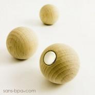 3 boules aimantées magnet bois